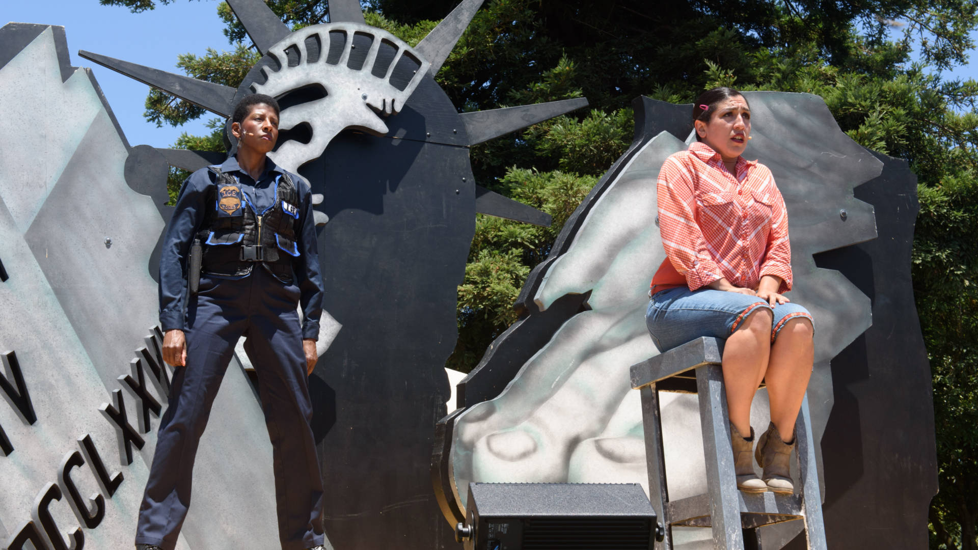 ICE Agent L. Mary Jones (Velina Brown) and her girlfriend Zaniyah Nahuati (Marilet Martinez) navigate a difficult relationship in 'Walls' by the San Francisco Mime Troupe. Photo: Mike Melnyk