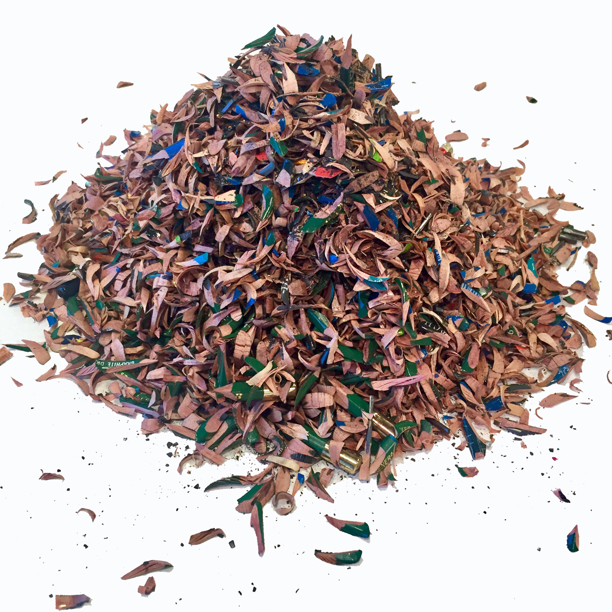 Sheila Ghidini, pencil shavings from various drawing projects, 2015-present.