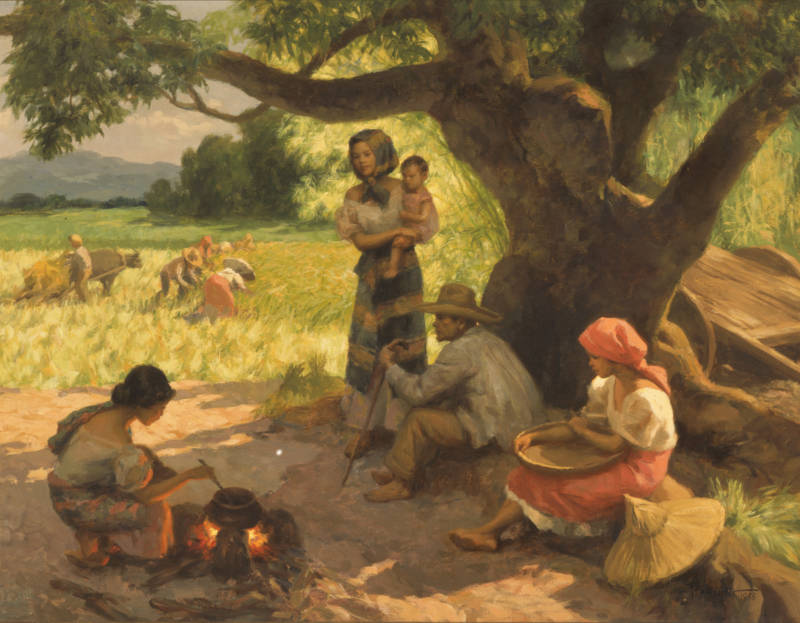Fernando Amorsolo (Filipino, 1892–1972), 'Farmers working and resting,' 1955.