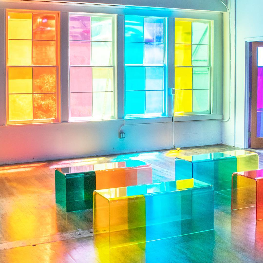 A spot to sit and contemplate color, between the confetti room and Tom Stayte's installation.