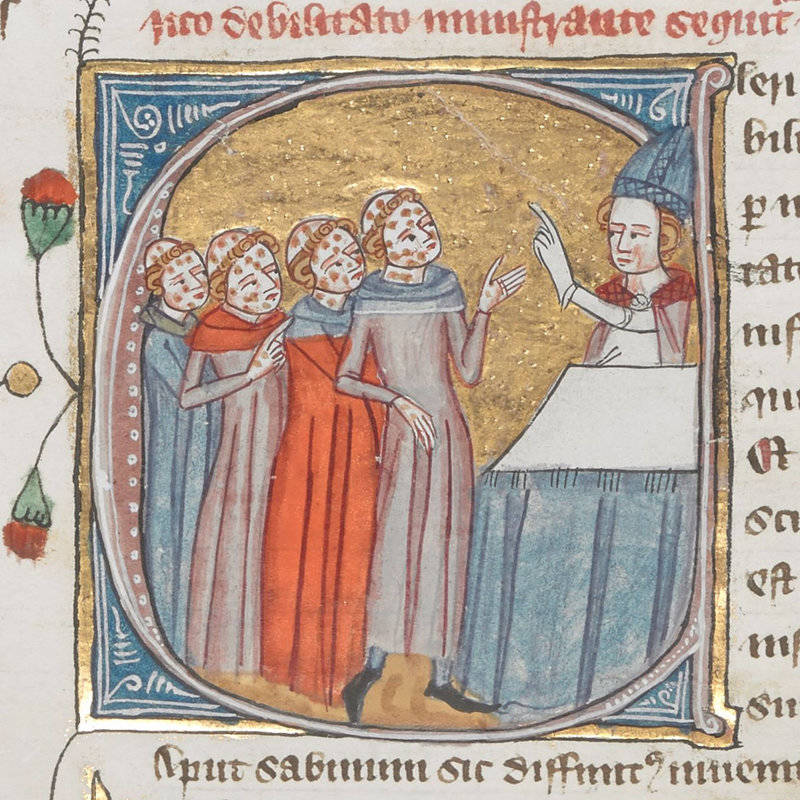This image in a 14th-century encyclopedia called the 'Omne Bonum' shows a priest giving instructions to people with leprosy. The British Library mislabeled the image as depicting plague victims.