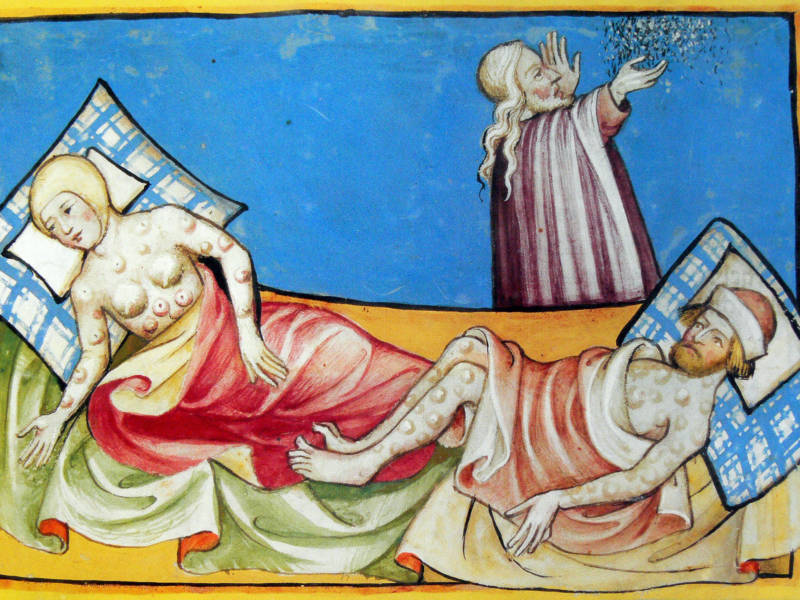 A 15th-century Bible depicts a couple suffering from the blisters of bubonic plague. The same bacterium that ravaged medieval Europe, where the disease was known as the Black Death, occasionally re-emerges.
