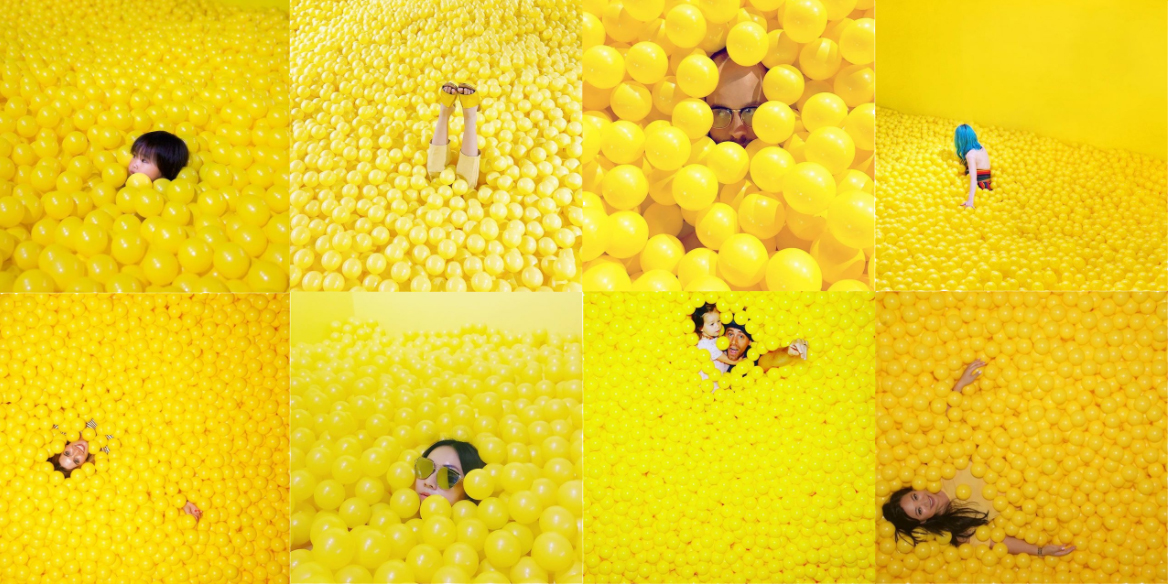 Public images tagged #colorfactoryco basking in the 'Yellow Ball Pit.'