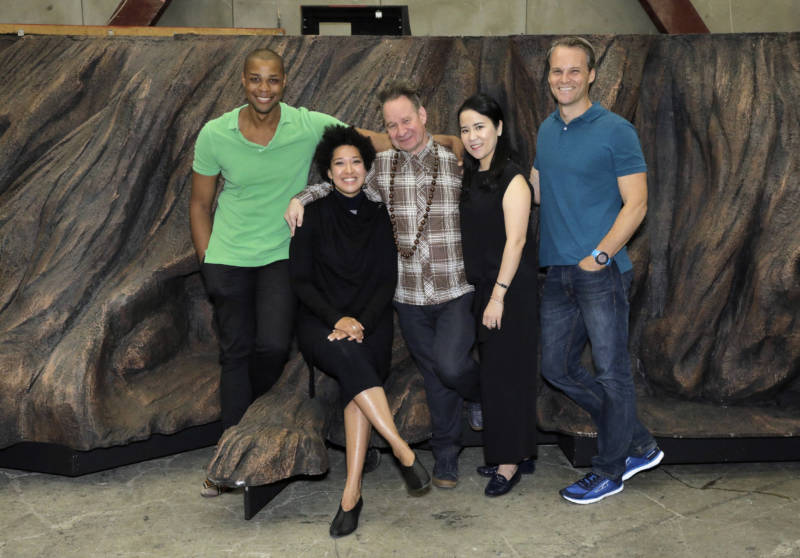 Davone Tines (Ned Peters), Julia Bullock (Dame Shirley), Peter Sellars (librettist and director), Hye Jung Lee (Ah Sing), Ryan McKinny (Clarence King)