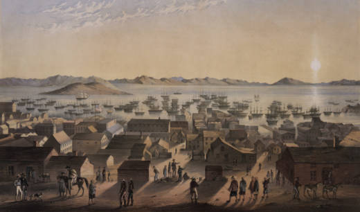 The San Francisco Bay circa 1850, at the height of the gold rush.