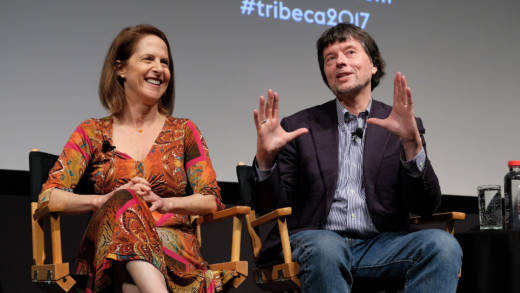 Director Lynn Novick (L) and director/producer Ken Burns speak onstage during a panel discussion at 'The Vietnam War' premiere during the 2017 Tribeca Film Festival