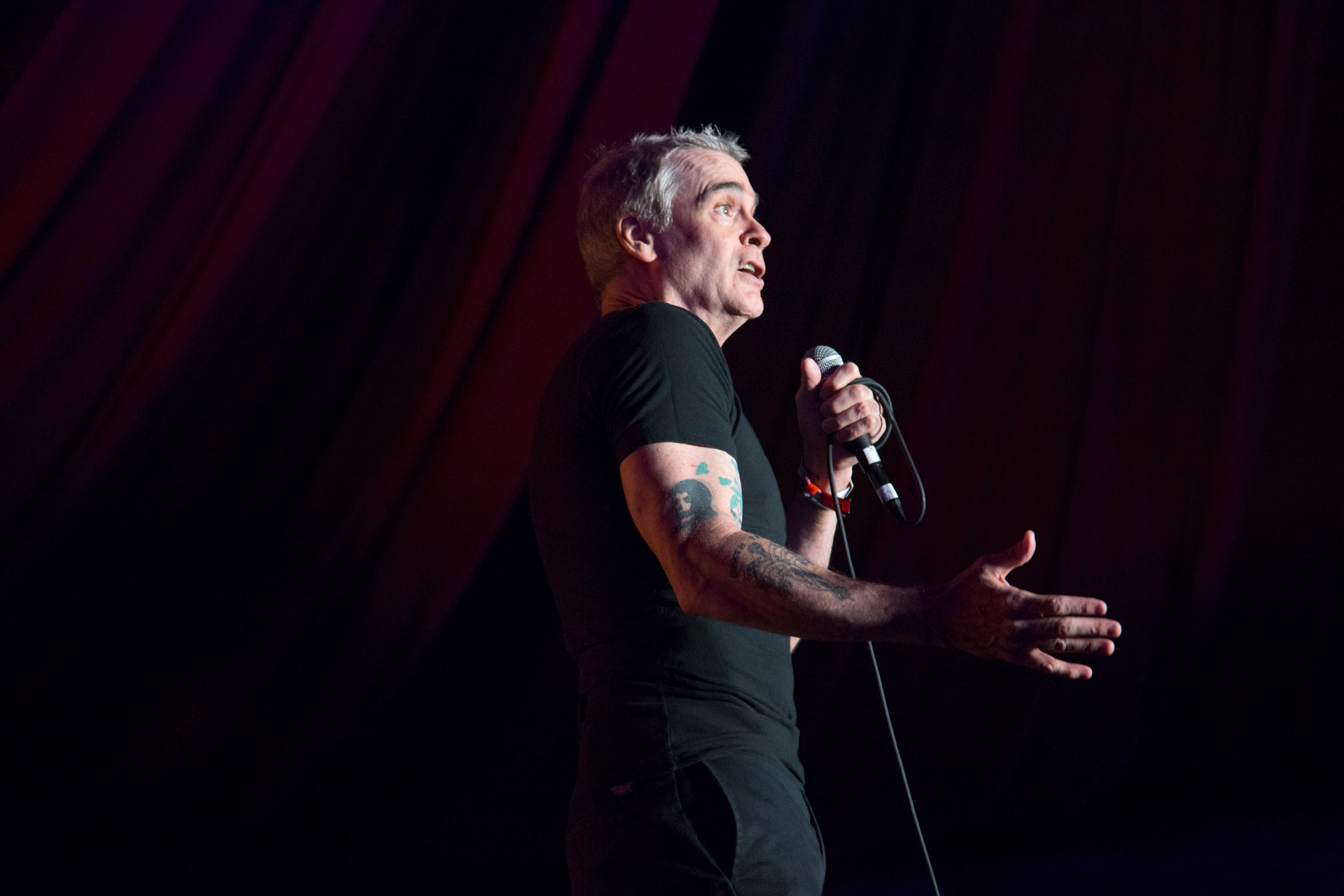 Henry Rollins performs at the Outside Lands music festival in San Francisco, Aug. 11, 2017.