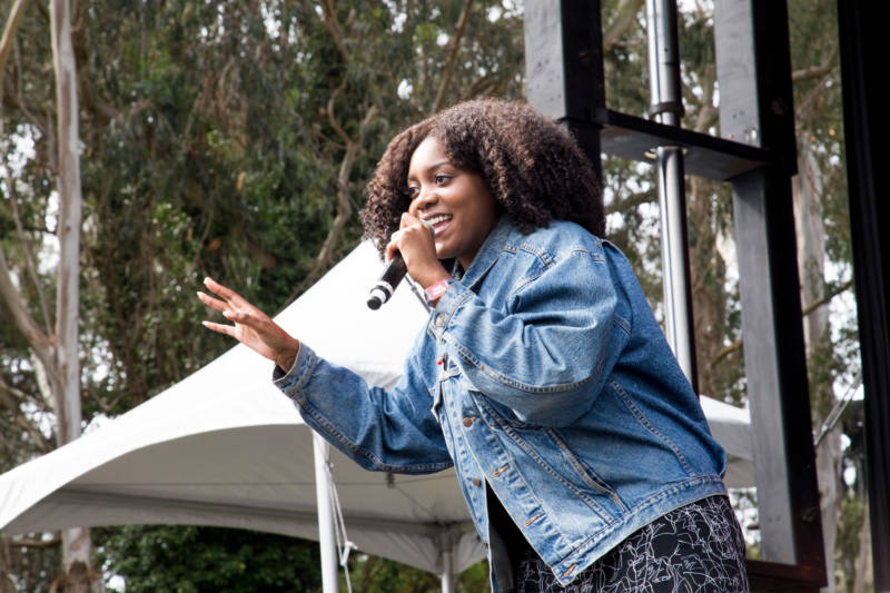 Noname performs at the Outside Lands music festival in San Francisco, Aug. 11, 2017.