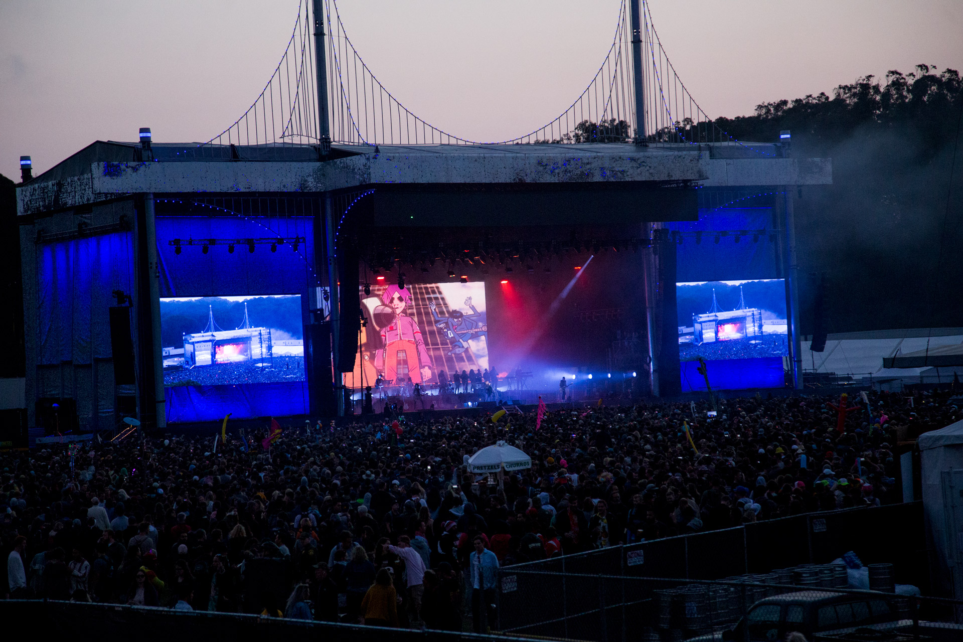 The crowd watch Gorillaz at the Outside Lands music festival in San Francisco, Aug. 11, 2017.