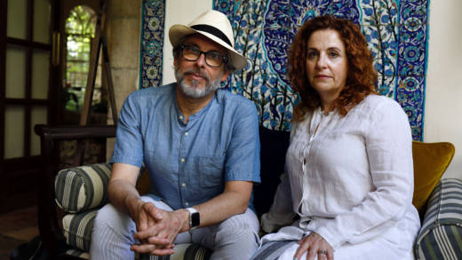 Israeli-American novelist Ayelet Waldman (R) and her spouse American novelist Michael Chabon pose for a picture in Jerusalem on June 18, 2017.