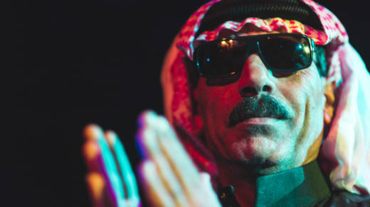 Omar Souleyman performing during NPR Music's showcase at Le Poisson Rouge in New York City on Wednesday, Oct. 16.