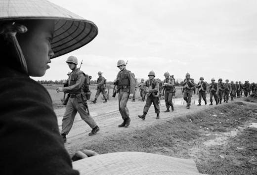 Marines marching in Danang