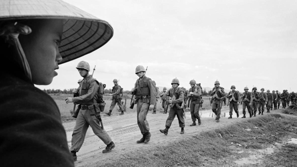 Marines marching in Danang