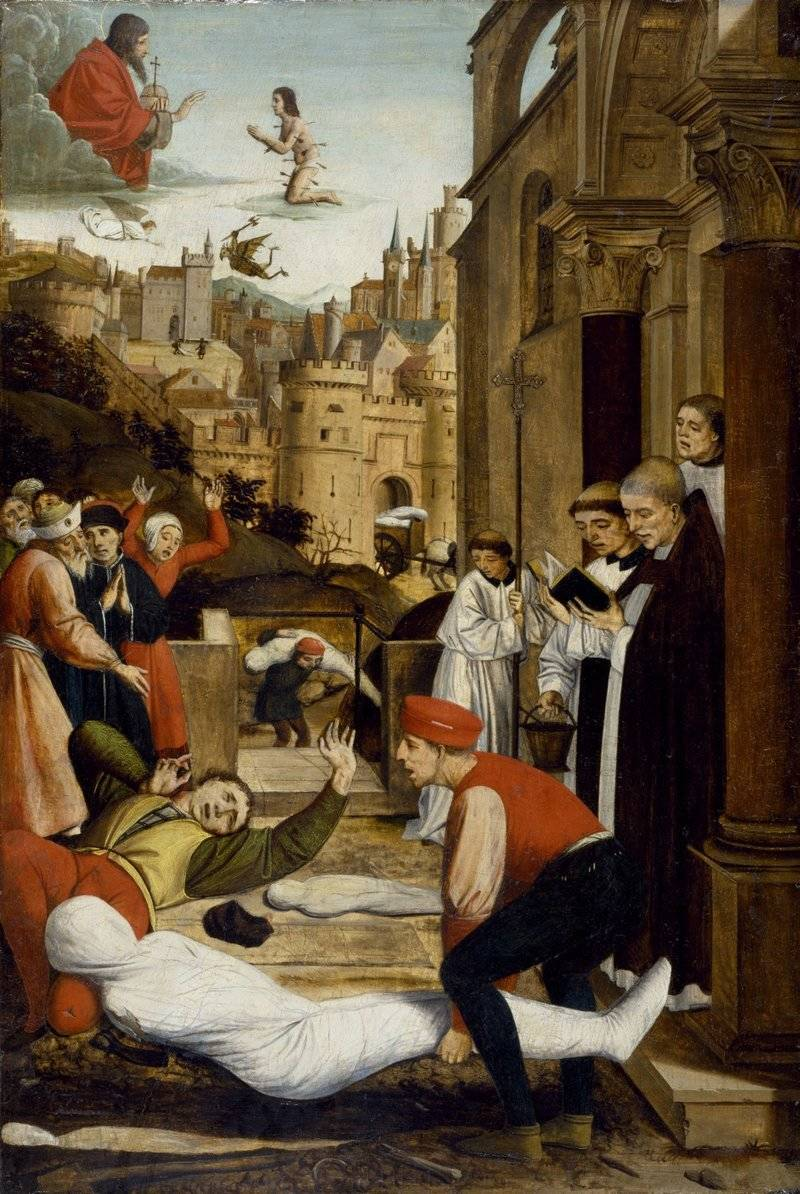 St. Sebastian, one of the saints that people prayed to for protection against the plague, kneels before God while a grave attendant is stricken with the plague as he's burying someone else who died of the disease. He has a single bubo on his bent neck. It was painted by French artist Josse Lieferinxe at the end of the 15th century.