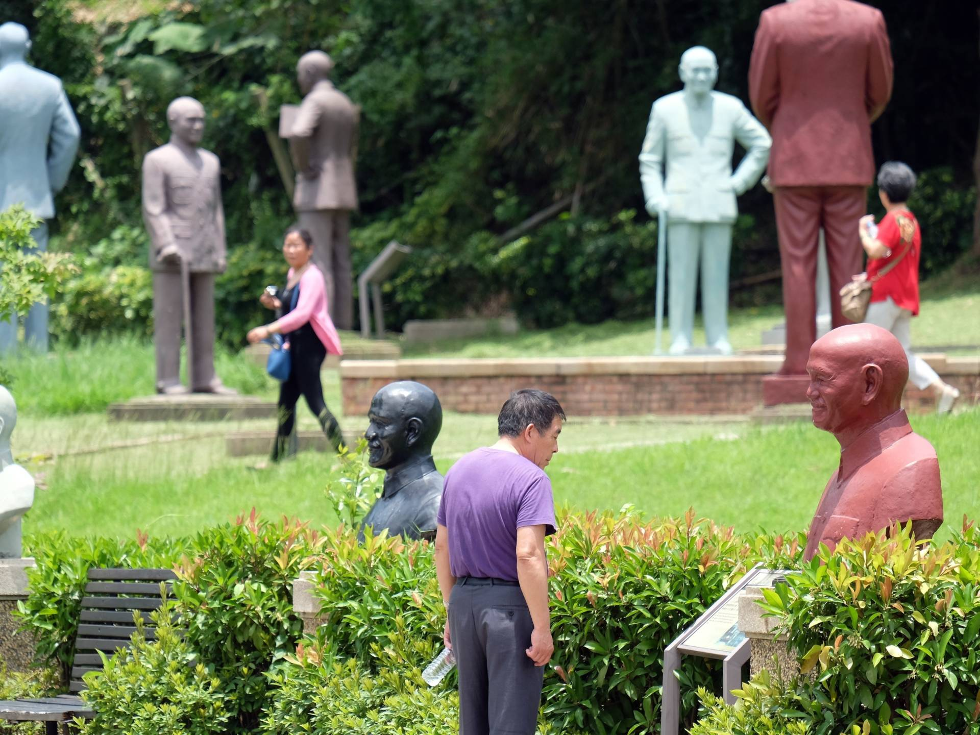 Chinese tourists visit the park in northern Taiwan that is home to more than 200 statues of late nationalist leader Chiang Kai-shek in 2015. Sam Yeh/AFP/Getty Images