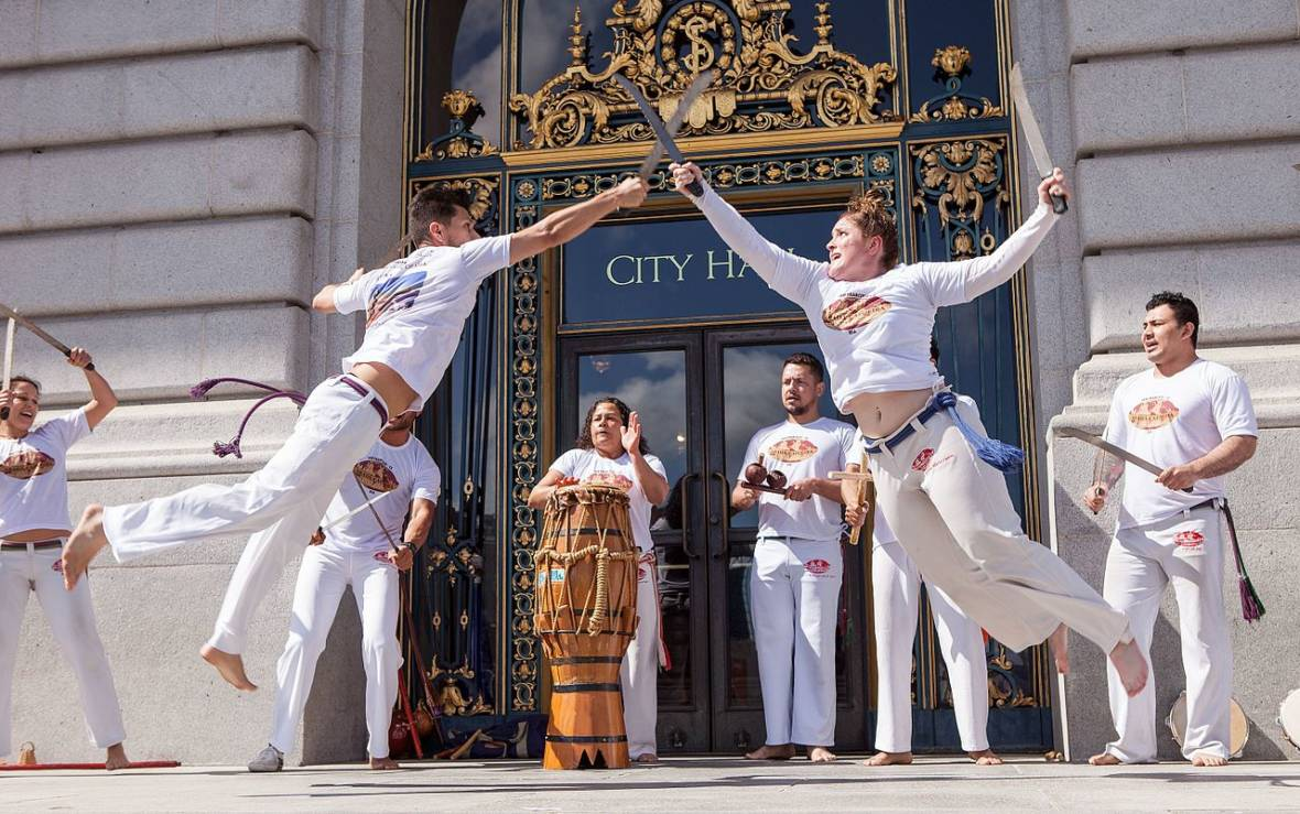 ABADÁ-Capoiera performs on the steps of City Hall during San Francisco Arts Advocacy Day in March. Pax Ahimsa Gethen / funcrunch.org