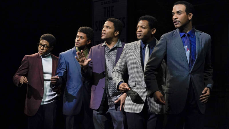 The Temptations, (L to R) David Ruffin (Ephraim Sykes), Eddie Kendricks (Jeremy Pope) Paul Williams (James Harkness), Otis Williams (Derrick Baskin) and Melvin Franklin (Jared Joseph) were hitmakers who made art.