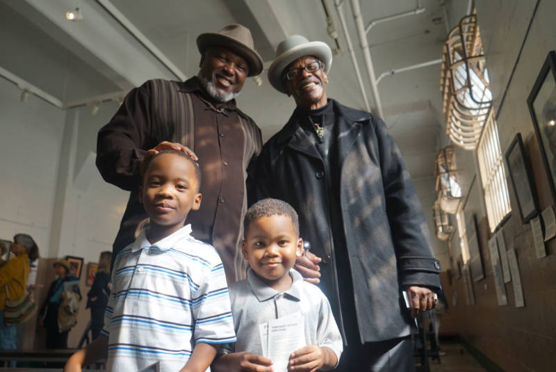 Troy Williams (L) and Watani Stiner (R) with family at Alcatraz State Prison.