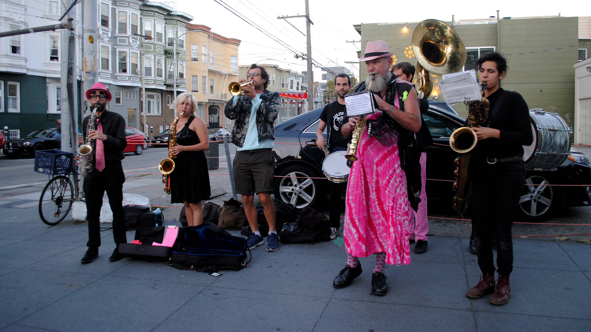 Brass Liberation Orchestra provides musical support for marches and protests for a variety of progressive causes.  Nastia Voynovskaya