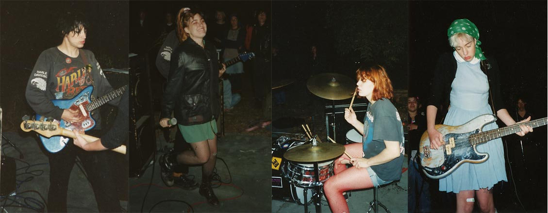 Bikini Kill performs in a backyard in Santa Rosa, fronted by Kathleen Hanna (second from left), circa 1993.
