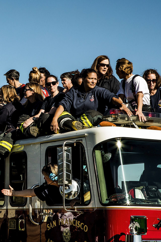 Christie Hemm Klok, firefighters during the group photo at Crissy Field.