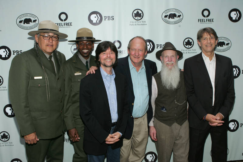 (L-R) Park Rangers Gerard Baker, Shelton Johnson, director Ken Burns, writer Dayton Duncan, Lee Stetson, and actor Peter Coyote attend a National Parks celebration hosted by the National Parks Conservation Association and PBS at Central Park on September 23, 2009 in New York City.