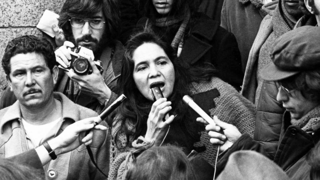 Dolores Huerta at a press conference in 1975.