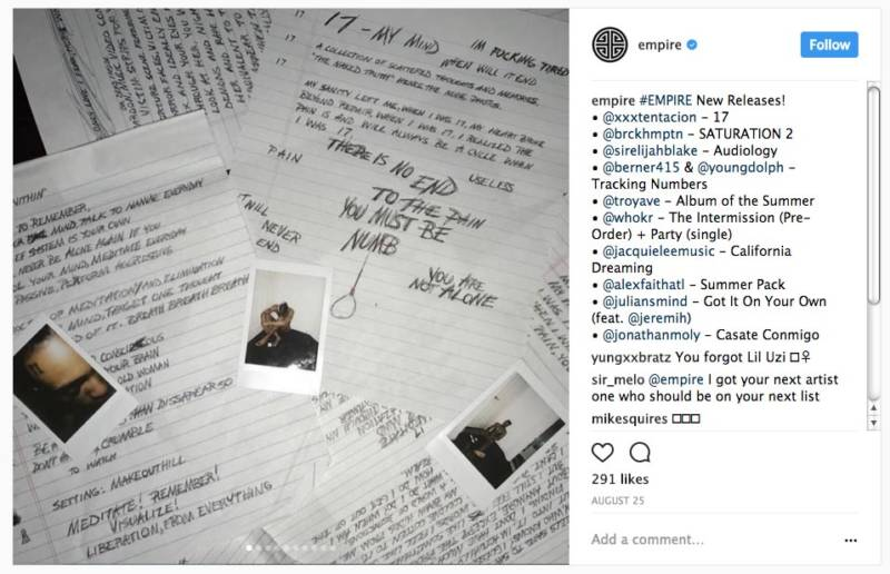 XXXTentacion's latest album, '17,' was released by San Francisco-based Empire.
