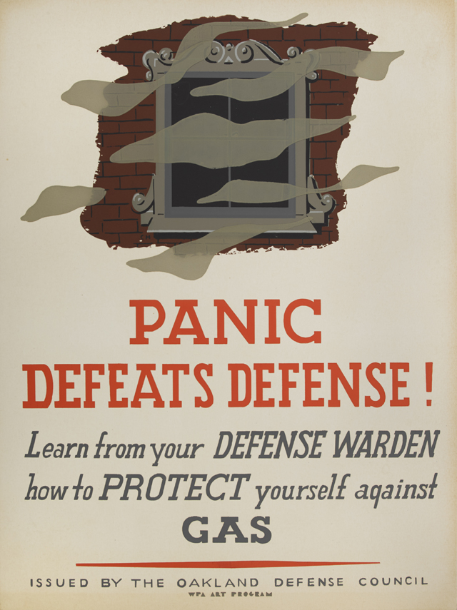Charles Howard, 'Panic Defeats Defense' war poster from the 1940s.