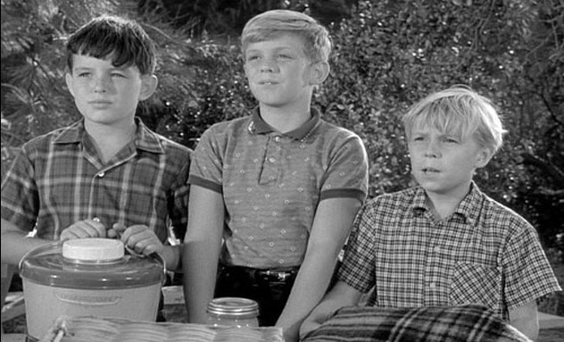 Scene from a TV episode of 'Leave it to Beaver' -- the regular trio of friends (left to right): Beaver (Jerry Mathers), Gilbert (Stephen Talbot) and Whitey (Stanley Fafara)