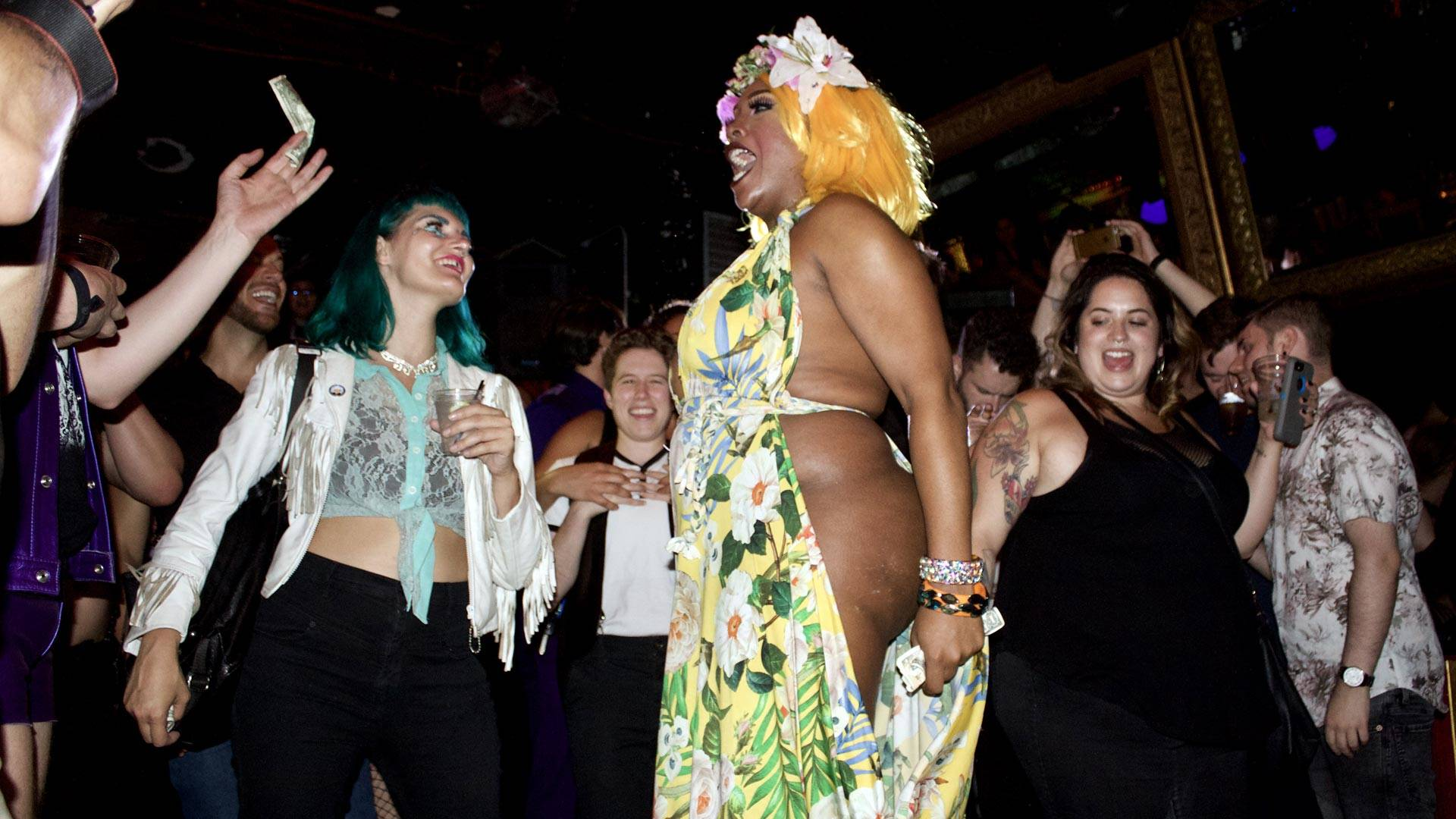 Bionka Simone walks into the crowd while performing a lip-sync to 'What's Up' by the 4 Non Blondes on Sept. 22.  Audrey Garces/KQED