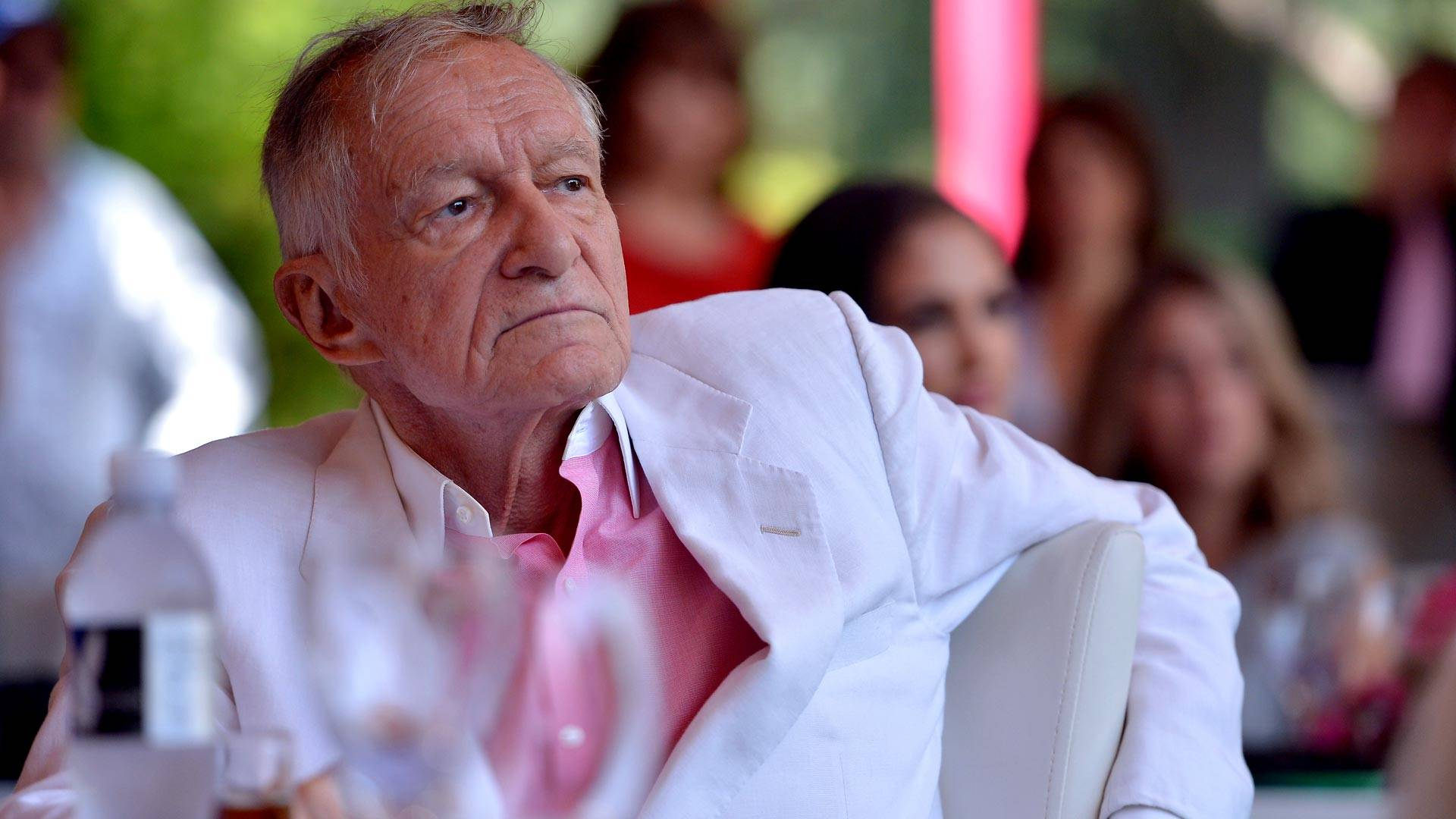 Hugh Hefner attends Playboy's 2013 Playmate Of The Year luncheon honoring Raquel Pomplun at The Playboy Mansion on May 9, 2013. Charley Gallay/Getty Images