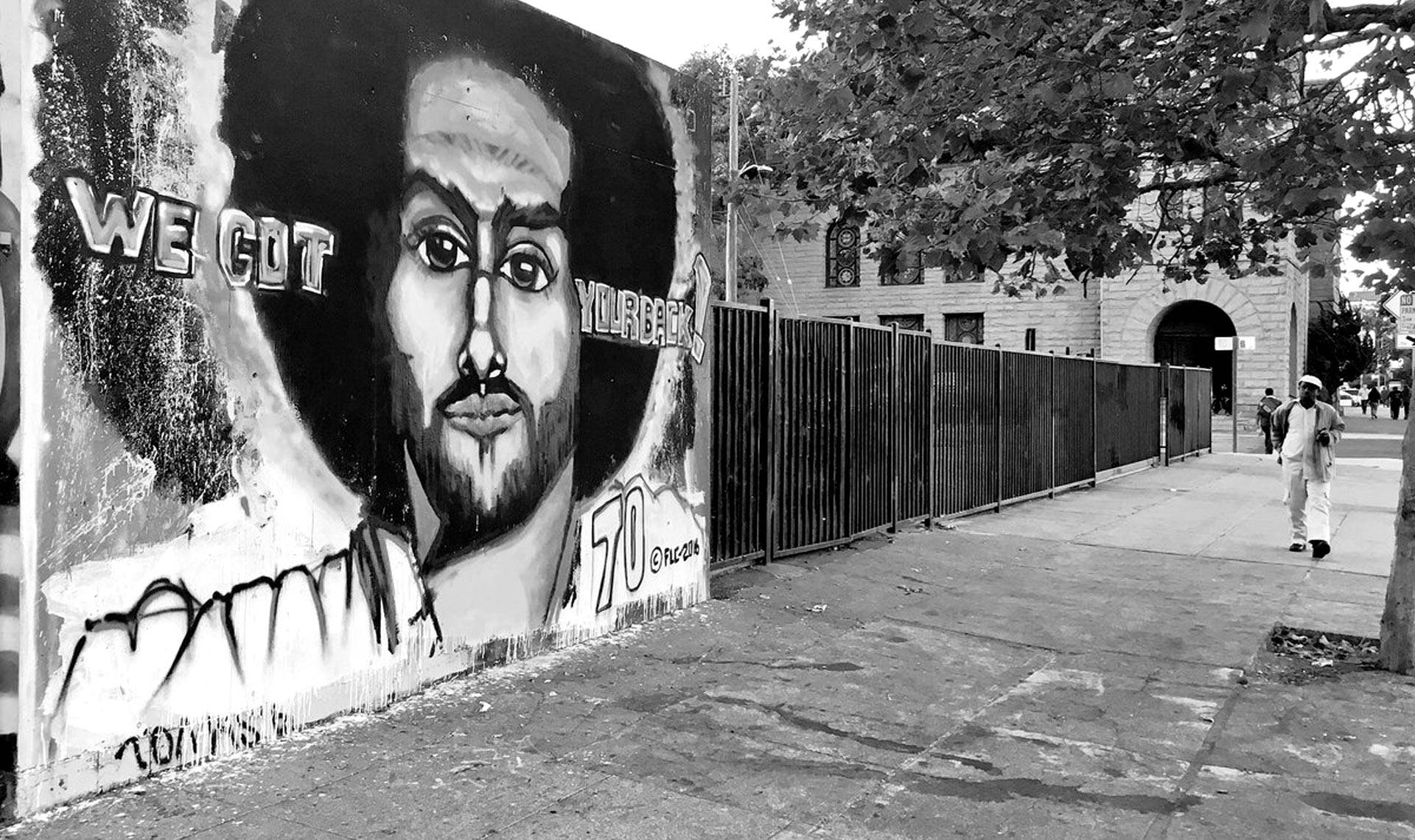A mural of Colin Kaepernick on Telegraph Ave. in Oakland, circa 2016. Pendarvis Harshaw