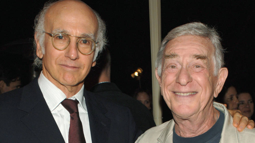 """Executive producer and creator Larry David (L) and actor Shelly Berman (R) attend the after party for Los Angeles Premiere of HBO's '""""Curb Your Enthusiasm' at the Paramount Theater Sept. 21, 2005 in Hollywood, California."""