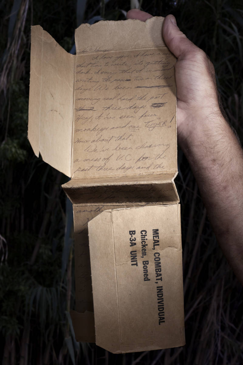 Humidity disintegrated paper in the jungles of Vietnam. Resourceful American soldiers used alternatives like the sturdy cardboard wrappers their food rations came in to write letters home to loved ones.