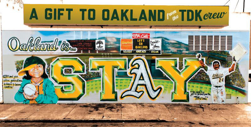 "The completed A""s 'STAY' mural in Jack London Square."