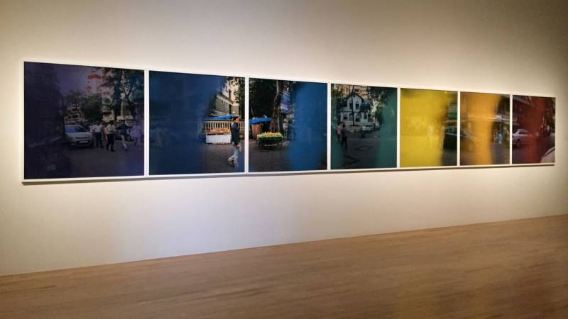 """""""Event Horizon (the hour of the day of the month of the season),"""" a series of photographic prints by Jitish Kallat, featured in the exhibition, """"Postdate: Photography and Inherited History in India"""" at the San Jose Museum of Art in 2015."""
