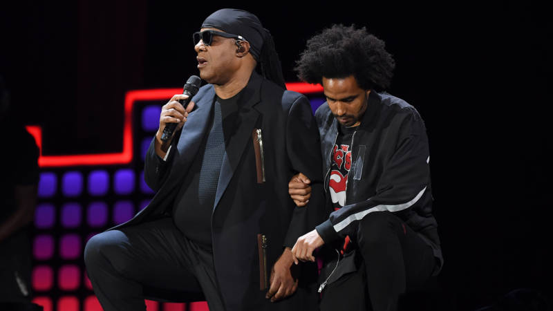 Stevie Wonder and his son Kwame Morris onstage during the 2017 Global Citizen Festival: For Freedom. For Justice. For All. in Central Park on September 23, 2017 in New York City.
