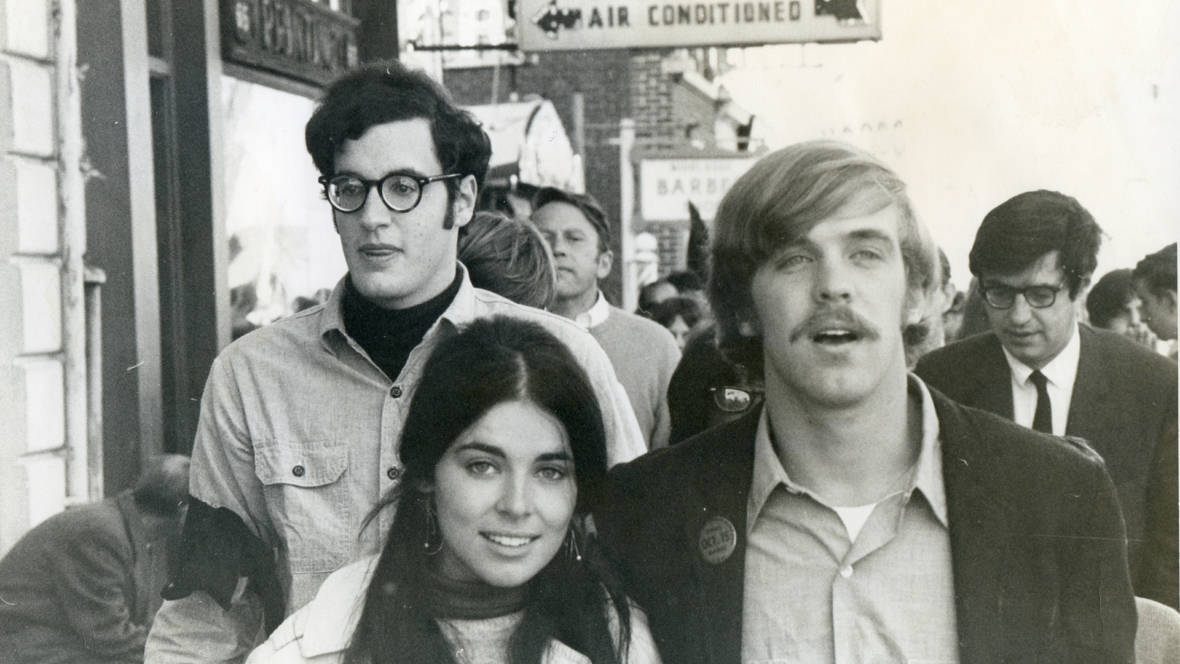 Stephen Talbot leading an anti-war march in Middletown, Conn. on October 15, 1969, with his then girlfriend Susan Heldfond -- as part of the National Moratorium Day