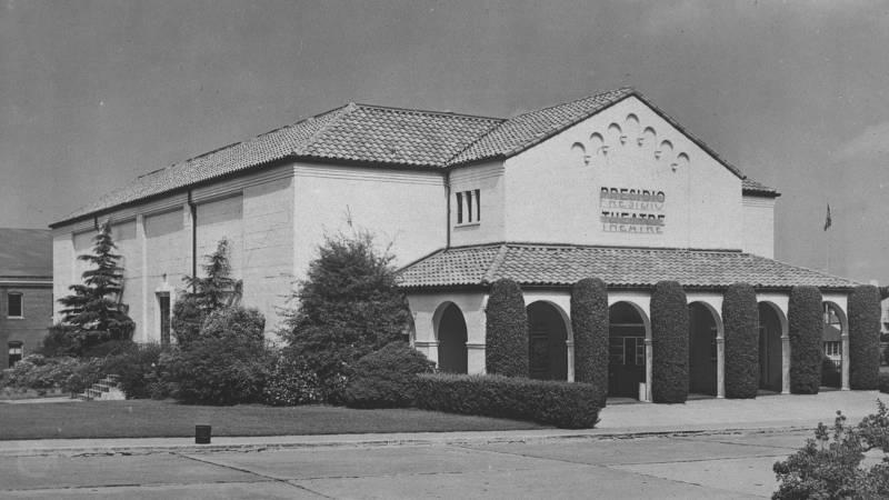 Archival photo of the Presidio Theatre in 1950