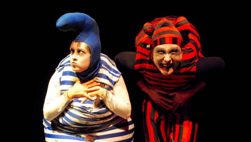 "(L to R) Sabrina Wenske and Cara McClendon in ""You Fuckin Earned It"" at the SF Fringe Festival."