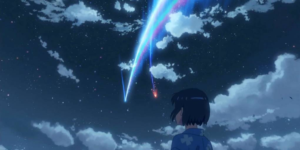 A scene from the Japanese animated film 'Your Name' (2016, dir. Makoto Shinkai).