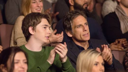 Please Clap: Troy (Austin Abrams) and father Brad (Ben Stiller) in 'Brad's Status.'