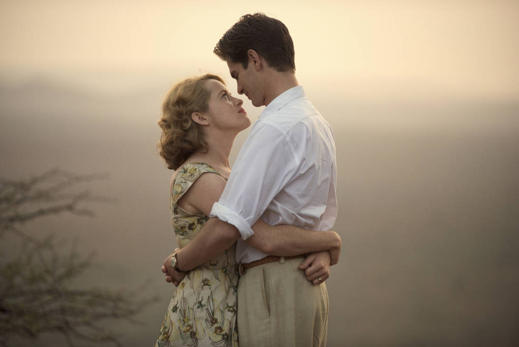 Claire Foy and Andrew Garfield star as Diana and Robin Cavendish in 'Breathe'