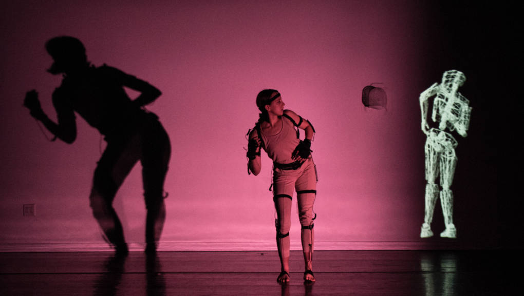 Juliet Paramor confronts the abstraction of her self in 'Mesh' by Kinetech Arts.
