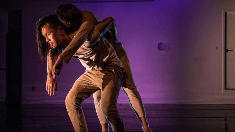 Dancers Hien Huynh and Mariia Sotnikova run out of energy over and over again in 'Mesh' by Kinetech Arts.