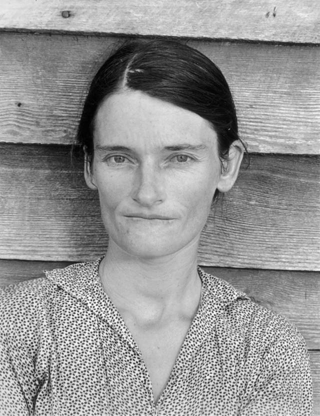 Walker Evans, 'Allie Mae Burroughs, Wife of a Cotton Sharecropper, Hale County, Alabama,' 1936.