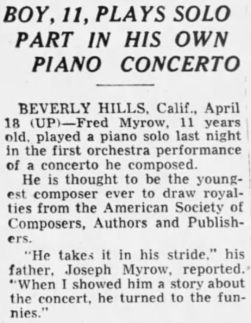 Story about young Fred Myrow from the St. Louis Dispatch