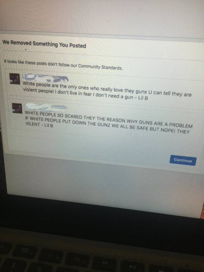 Lil B sent Motherboard photos of the posts that got him banned from Facebook.