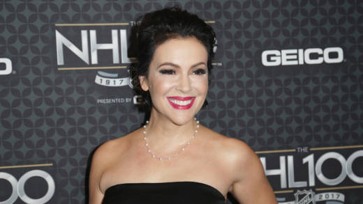 Alyssa Milano arrives at the NHL 100 presented by GEICO Red Carpet as part of the 2017 NHL All-Star Weekend at the Microsoft Theater on January 27, 2017 in Los Angeles, California.